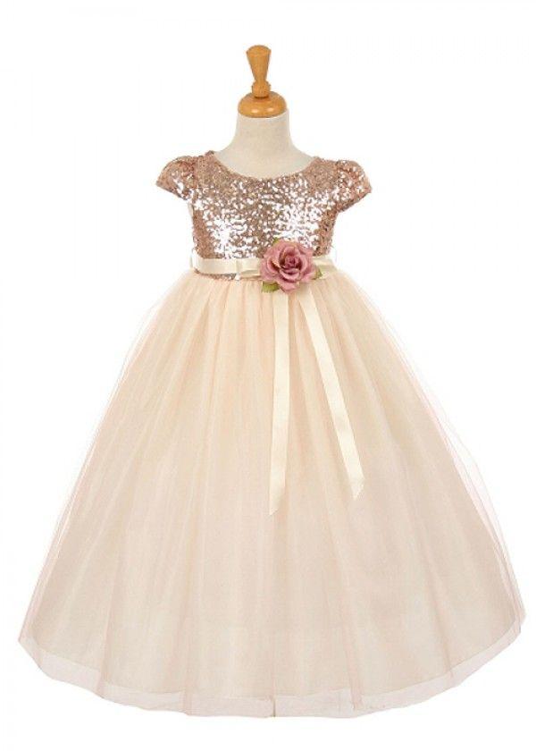 Blush Stunning Sequin Flower Girl Dress