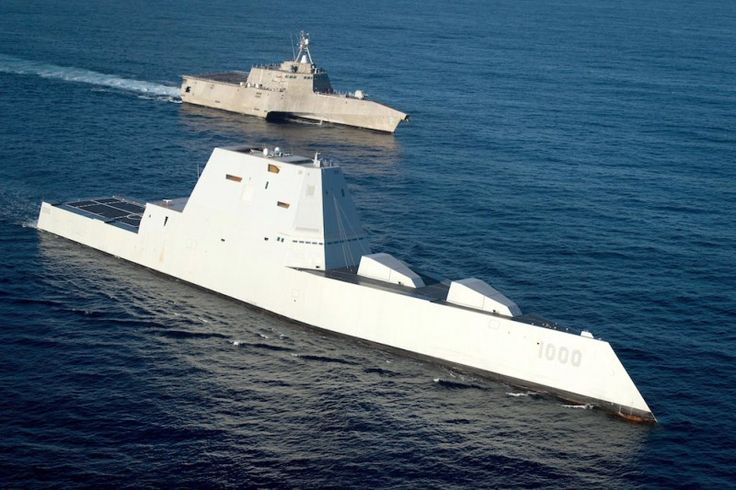 USS Zumwalt (DDG 1000) steams in formation with USS Independence (LCS 2) on the final leg of her three-month journey to her new homeport in San Diego. U.S. Navy Photo