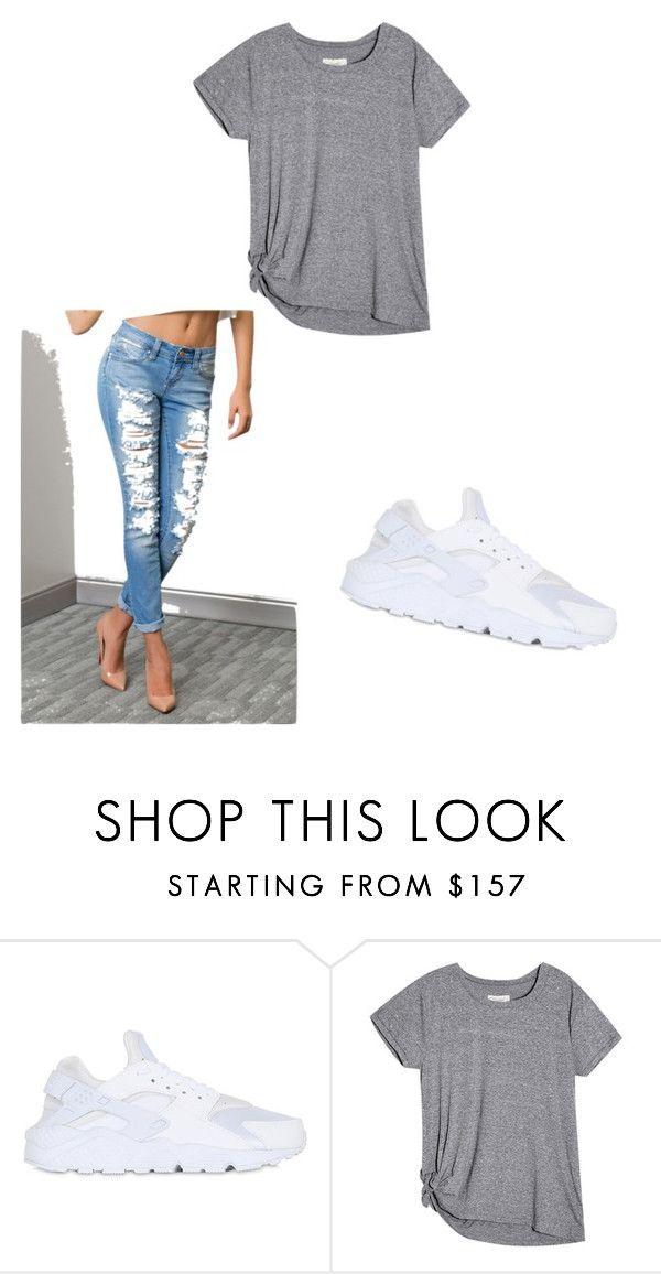 """""""air huarache outfit"""" by chastygarcia ❤ liked on Polyvore featuring NIKE"""
