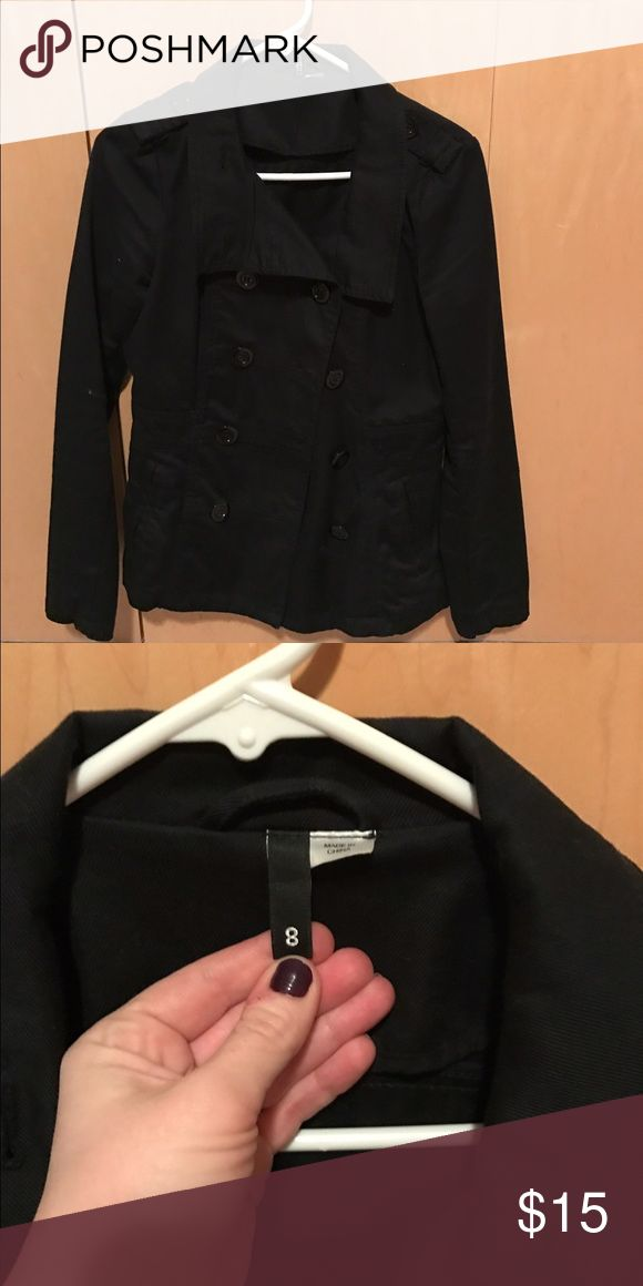 HM canvas peacoat Black canvas double breasted peacoat. HM, 2 years old, excellent condition. hm-moden Jackets & Coats Pea Coats