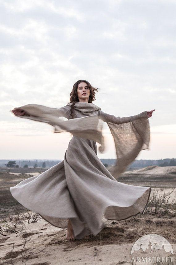 17% KORTING Fantasie jurk Zwerver Hooded jurk vlas door armstreet