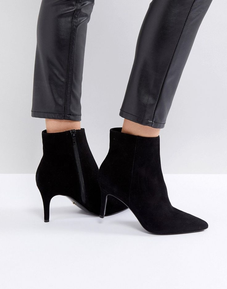 Dune London Pull on Heeled Sock Boot in Black Leather - Black