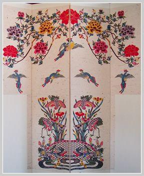 Bingata screen - Okinawan fabric, Ryukyu Isalands