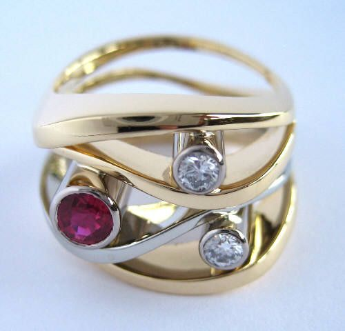 Susan Kun BURMESE RUBY AND DIAMOND WAVE RING / Canada House Gallery
