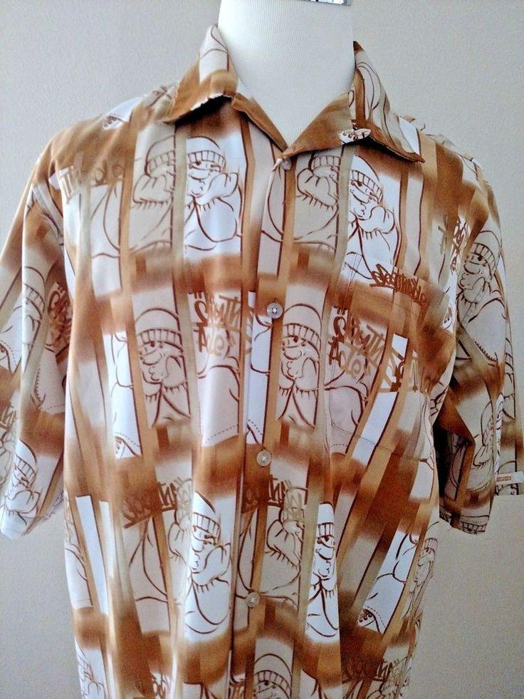 South Pole Mens Polyester DJ Print Shirt One Pocket Soft Comfortable Large EUC #Southpole #Hawaiian