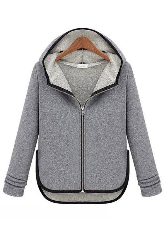 Grey Asymmetric Hoodie