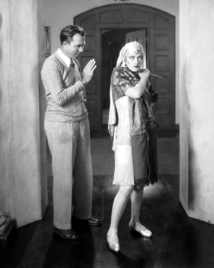 King Vidor, Marion Davies on the set of 'The Patsy.' Here, Marion is impersonating Pola Negri.