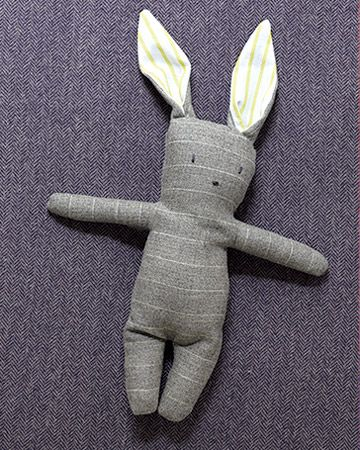 Stuffed Bunny made from upcycled men's shirt