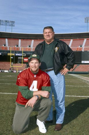 "As a coach, ""Big Irv"" Favre kept a tight leash on the arm of his son, Brett, in high school. (Getty Images)"