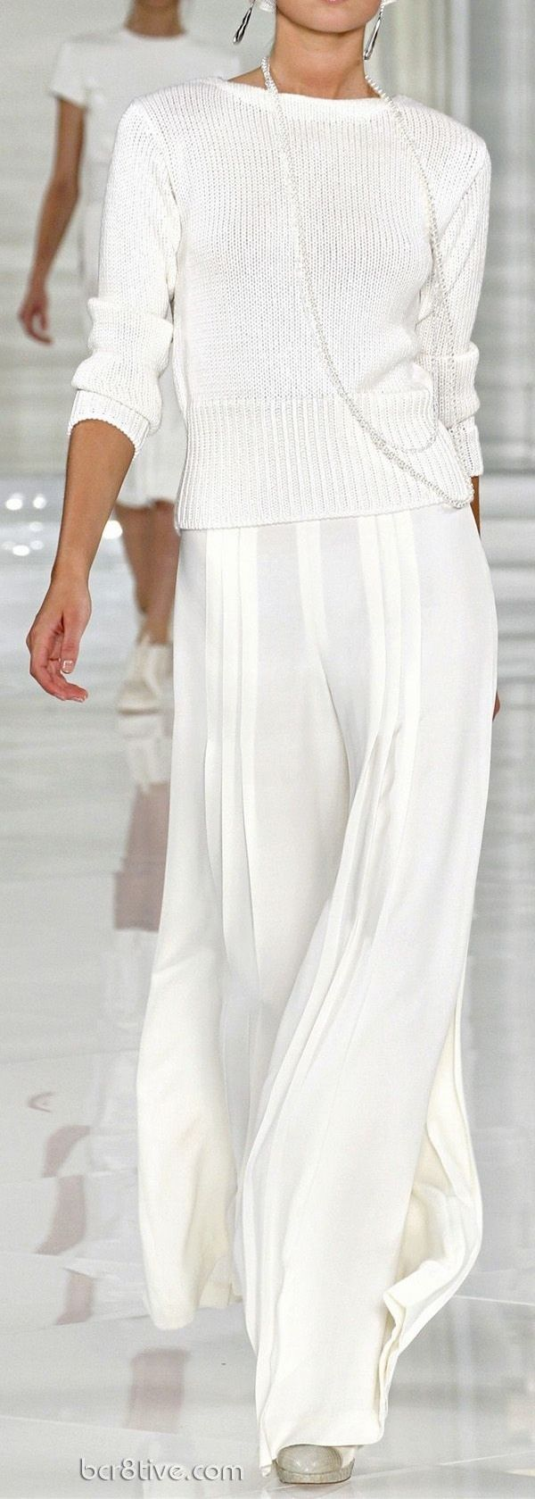 I think white is always in fashioin whether with movie people are average joes like us.  I love the sweeping white pants.