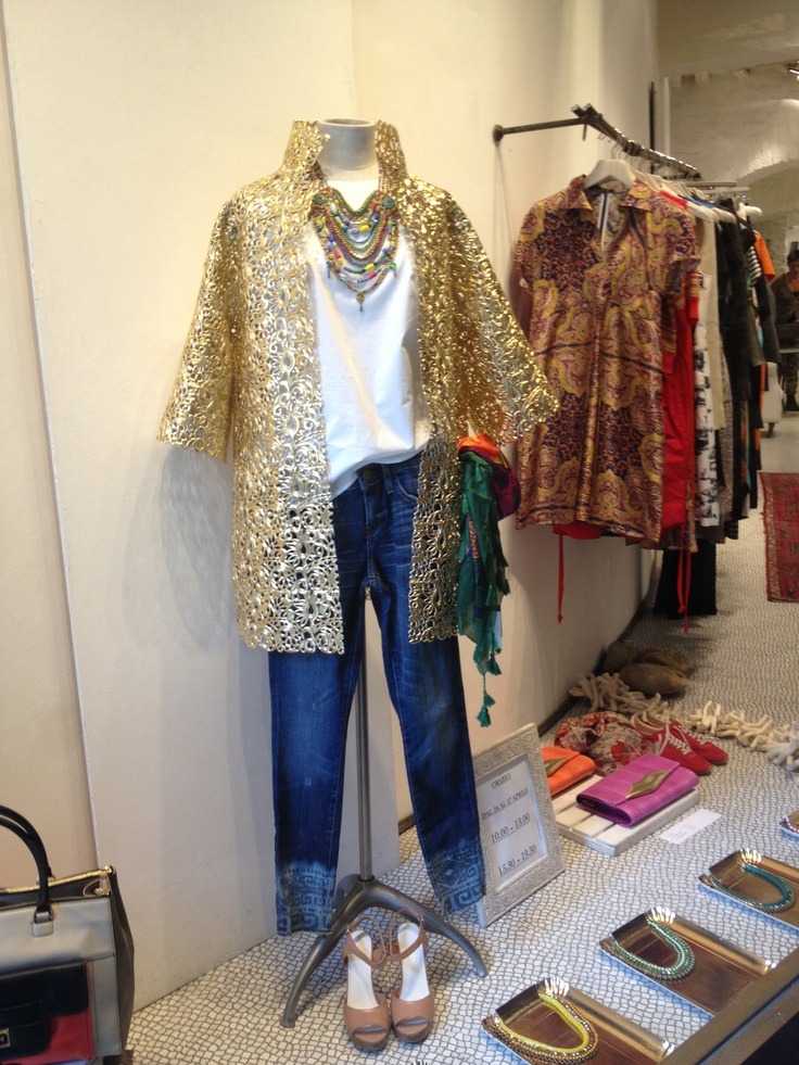 Golden coat from Gianluca Capannolo, inside our window display! #windowdisplay #gianlucacapannolo #DVF #dolcitrame