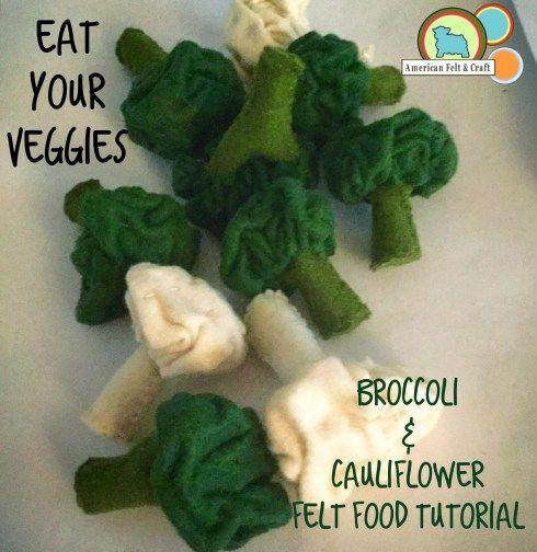 Felt Broccoli and Cauliflower free felt crafting tutorial