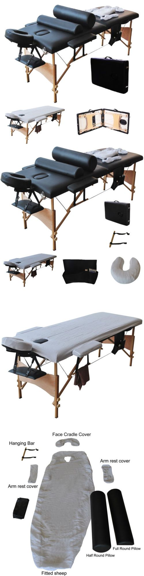 Massage Tables and Chairs: Portable 84 Massage Table Fold Facial Spa Bed W 2 Pillows+Cradle Cover+Fit Sheet -> BUY IT NOW ONLY: $105.99 on eBay!