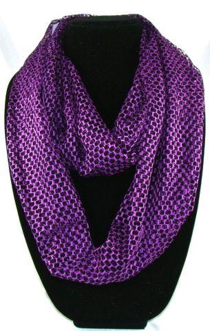 Comfortable Women's purple net infinite scarf. 163cmx53cm long scarf. #I125(YQJ)