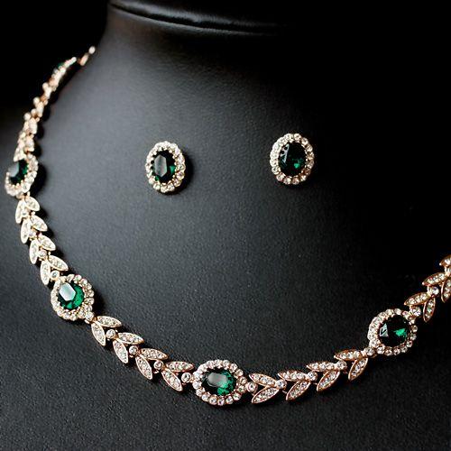 Emerald jewelry. 2pcs Fancy Golden Chokers Necklace-Stud Earrings