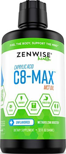 Pure C8 MCT Oil - C8-MAX Caprylic Acid Supplement - Natural Keto Friendly Formula for Weight Loss & Metabolism + Clean Energy - Great for Coffee Drinks + Shakes & Smoothies - 32 FL OZ