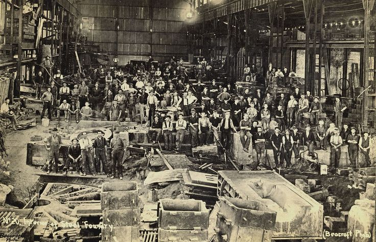 BHP Interior of Steel Foundry, Beacroft Photo.  This image was scanned from a photograph in the Newcastle and Hunter District Historical Society archives which are held by Cultural Collections at the University of Newcastle, Australia.  If you have any information about this photograph, please contact us.  Please contact us if you are the subject of the image, or know the subject of the image, and have cultural or other reservations about the image being displayed on this website and would…