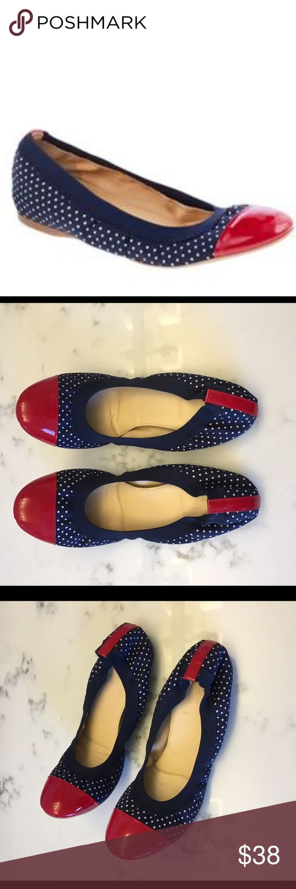 J.Crew Polka Dot Patent Cap Toe Ballet Flat Size 8 J.Crew Polka Dot Patent Cap Toe Ballet Flat Size 8. Navy blue with red cap toe and detail on the back, white polka dots. These are from J.Crew not the outlet. Gently worn (twice). This style curls gently when not worn but molds to your foot when put on. See pictures for gentle wear on the bottom. I just have too many pairs of shoes. J. Crew Shoes Flats & Loafers