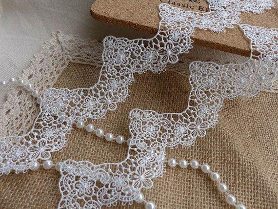 Largo bianco Lace Trim, Venise fiore pizzo smerlato Trim, abiti da sposa abito veli pizzo tessuto Trim