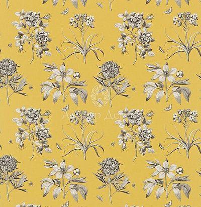 идеи для штор: желтая ткань с серыми цветами для классического интерьера DPFPET-204 Sanderson