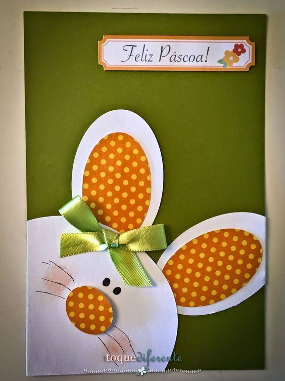 Cartões muito fofos para desejar uma Feliz Páscoa para as professoras de meu afilhado.      O cartão está composto por 8 peças de papel, sen...