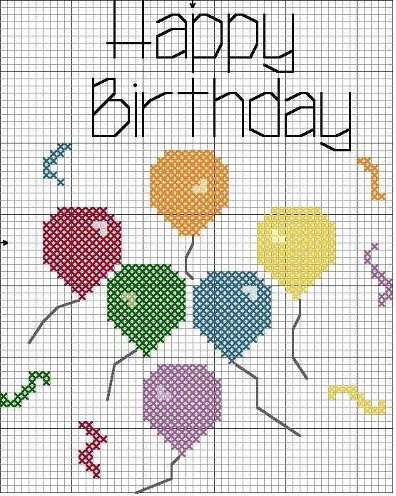 Вышитая открытка на день рождения схемы, днем