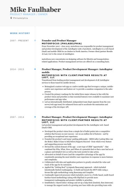 founder and product manager Resume example