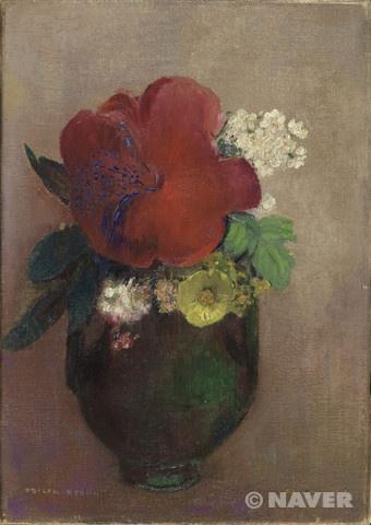 <오딜롱 르동(Odilon Redon) '붉은 양귀비꽃이 담긴 꽃병(Vase de fleurs, pavot rouge)'> 19세기 경에 그려진 작품으로 오르세 미술관에서 소장하고 있다. 르동의 작품세계는 50세에 큰 변화가 일어난다. 흑백의 표현 세계로부터 파스텔과 유채에 의한 화려한 색체표현으로 변화하여 그의 작품에서 기괴한 주제는 사라지고 꽃과 소녀를 주제로 한 것이 두드러졌다고 한다. 이 작품은 아주 빨간 접시꽃 같은 꽃이 아주 크게 자리하고있어 정열적인 느낌을 주지만 그 빨간색의 톤이 살짝 다운되어있어 약간 시들해진 서글픈 모습도 보이는 듯 하다.
