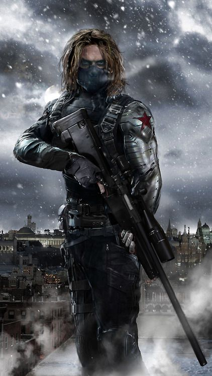 """Winter Soldier is locked and loaded. His overall is 87. He can snipe players and has great stealth. He also has good strength he lift up street lights with his metal arm. """"Bucky Barnes is not here right now""""...""""this fan art!! """""""