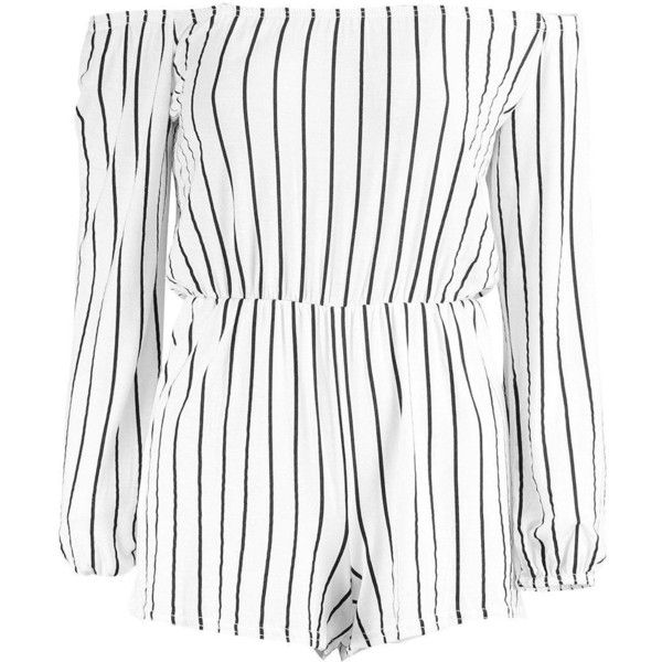 Boohoo Marla Off The Shoulder Striped Playsuit ($10) ❤ liked on Polyvore featuring jumpsuits, rompers, one piece, striped rompers, white off the shoulder romper, stripe romper, white rompers and off shoulder romper