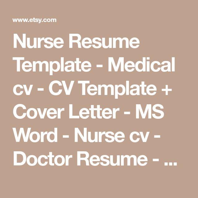 Nurse Resume Template - Medical cv - CV Template + Cover Letter - MS Word - Nurse cv - Doctor Resume - RN Resume - Creative Resume