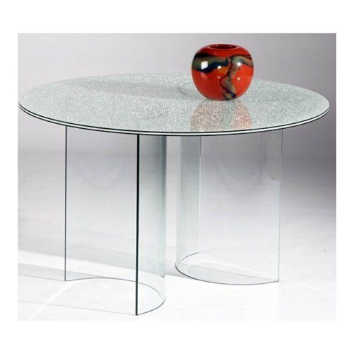 Chintaly Carmel Crackle Glass Round Dining Table - Dining Tables at Hayneedle