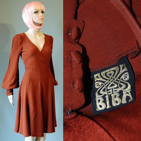 173fc9ef38 Original Biba 1970s Vintage Crepe Bishop Sleeve Cross Over Bodice Dress.  £260.00