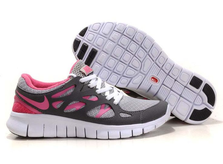 652040e5592f ... Nike Free Run +2 Grey Pink  Red  Womens  Sneakers ...