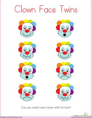 Each clown on this preschool worksheet has a twin with a matching expression. Kids focus on the details of the clowns' silly faces to make matches.