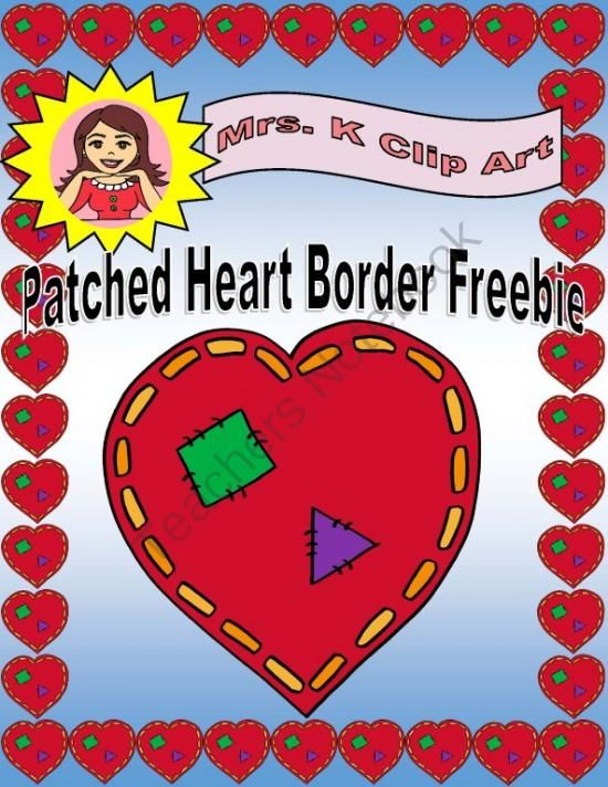 patched hearts border freebie from mrsks little clip art store on teachersnotebookcom