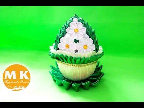 Мастер-класс Канзаши.Пасхальное яйцо с цветами из атласных лент - YouTube