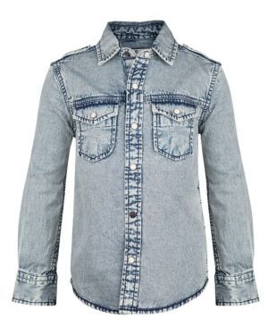 JONGENS DENIM OVERHEMD - WE Fashion Acid washed denim shirt SS14 Boys