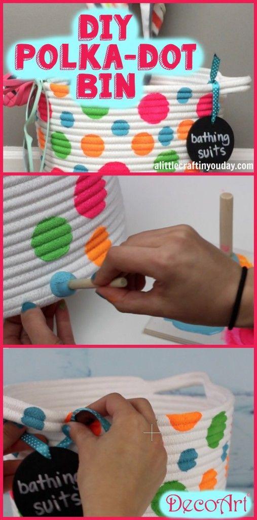 DIY Polka Dot Bin   Teen Room Decor -From our very own CourtneyChambers
