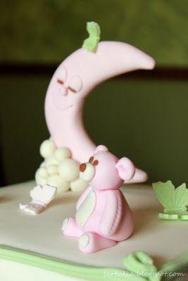 Luna y Osito en pasta de azucar para tarta bautizo / Moon and Teddy for christening cake