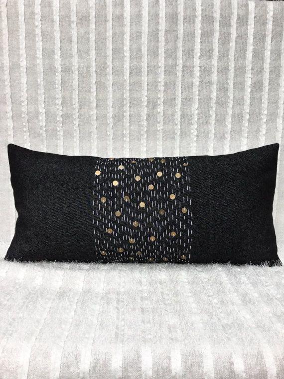 Long Black Denim Stitched Moroccan Inspired Fringe Tassel Lumbar Pillow   Boho Pillow   Tribal   Handira   Berber   Silver   Metal Coins   Sashiko Embroidery