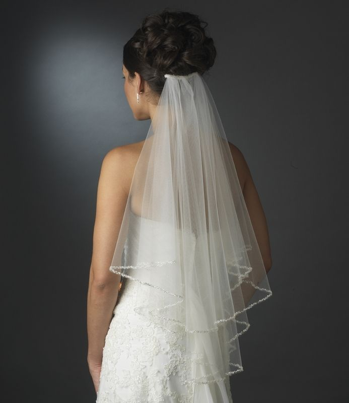 Two Layer Elbow Length Wedding Veil with Beaded Pearl Edge - Affordable Elegance Bridal -