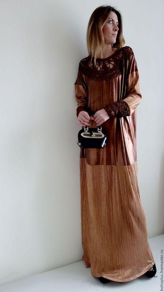 """Платья ручной работы. Ярмарка Мастеров - ручная работа. Купить Платье в стиле бохо """"Серафима медная"""". Handmade. Рыжий, золотой"""