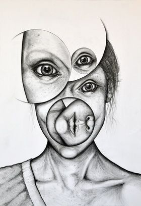 New idea for portrait drawing . . . Mix up the face into shapes! 280 x 408