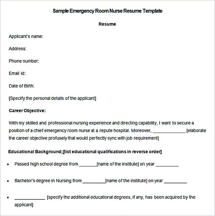 Sample Emergency Room Nurse Resume Template , Nurse Resume Template and General Resume Writing Tips , Use the nurse resume template as your reference and guide when you are writing your own. The ideal resume can help you land a chance for an interview,...