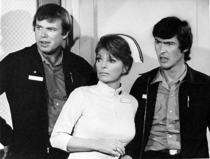 Kevin Tighe, Julie London and Randy Mantooth in this 1973 photo from Emergency!