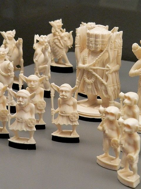 Ivory chess set depicting the story of the Ramayana India 1930