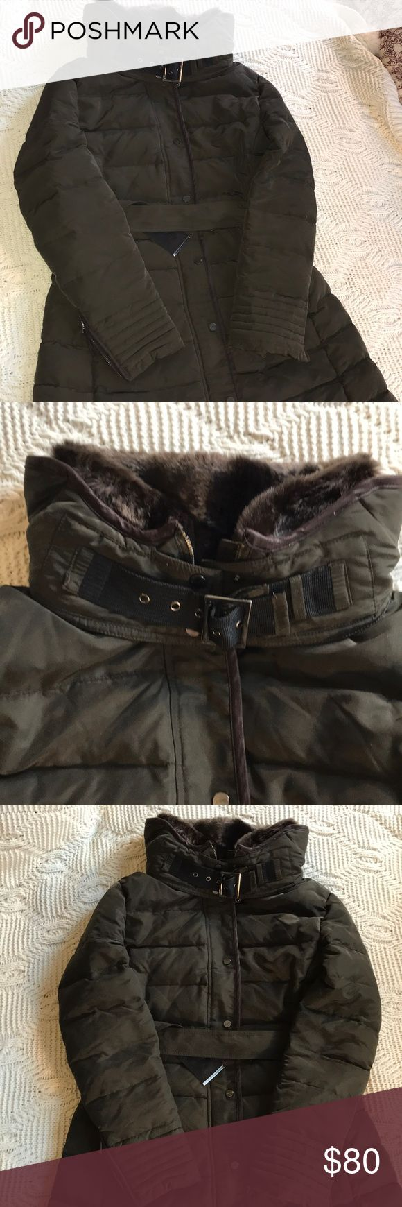 CLEARANCE!!! Zara green parka w/ fur and leather Beautiful dark green ZARA parka with a brown fur lining around the neck, and brown leather accents. Perfect condition, worn probably 6-8 times, no flaws or signs of wear. This parka is SERIOUSLY warm, comparable to my heaviest Patagonia parka. Smoke and pet free home. Will consider any reasonable offers! I would love to keep this parka, but just don't have the room in our city condo! Zara Jackets & Coats Puffers