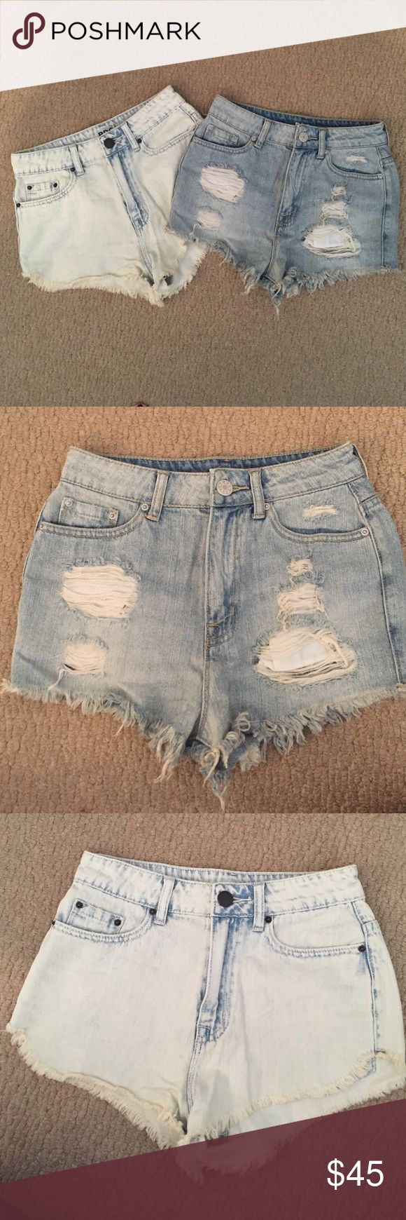 Set of 2 Urban Outfitters BDG denim shorts Set of 2 Urban Outfitters BDG denim shorts. Super high rise cheeky light denim shorts with rips in them. Super high rise Dolphin acid wash denim shorts. Both size 25. Only worn once or twice Urban Outfitters Shorts Jean Shorts