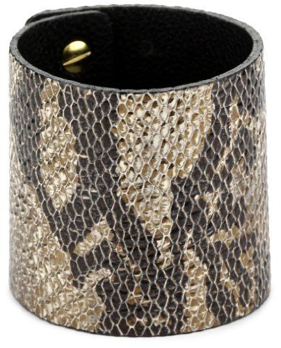"""Streets Ahead 2 1/4"""" Wide Italian leather Clean Snake Texture Cuff Bracelet Streets Ahead. $26.00. Made in the United States. Snake texture is black and bronze. Made in United States"""